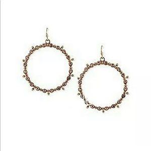 Jessica Simpson Hoop Earrings Crystal Rose Gold